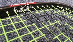Sam Cornett signature on her Black Knight Ion X-Force Signature Racquet