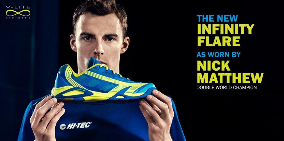 Hi Tec V-Lite Infinity Flare Squash Shoes as used by Nick Matthew