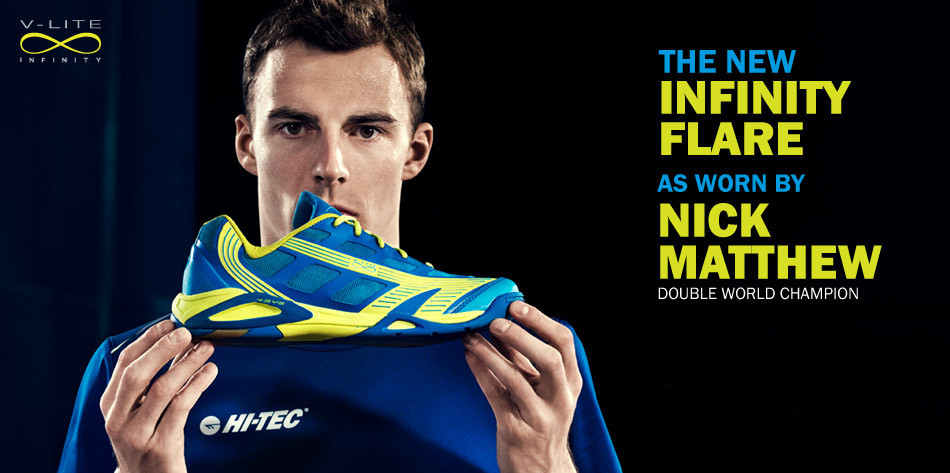 Hi-Tec V-Lite Infinity Flare Squash Shoes as used by Nick Matthew