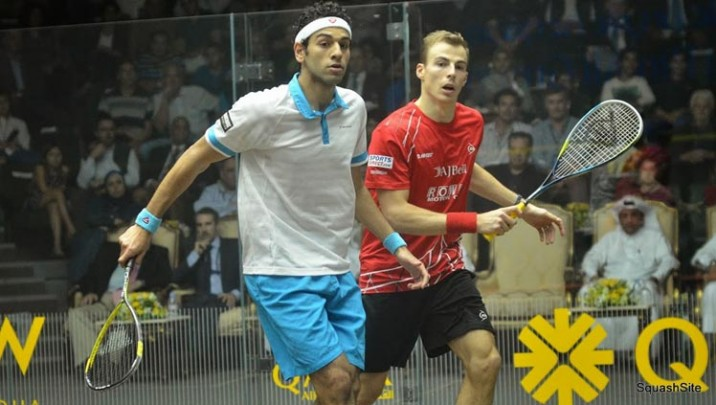Nick Matthew and Mohamed Elshorbaby at the Qatar Classic 2013