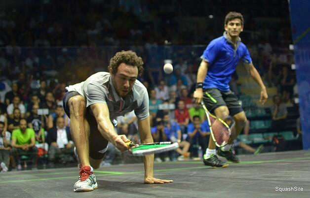 Ramy Ashour lunging for a ball at the MWT Mullhouse